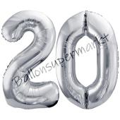 Luftballon Zahl 20, silber, 86 cm
