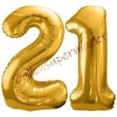 Luftballon Zahl 21, gold, 86 cm