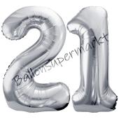 Luftballon Zahl 21, silber, 86 cm