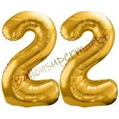 Luftballon Zahl 22, gold, 86 cm