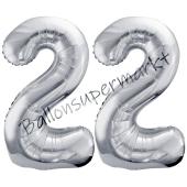 Luftballon Zahl 22, silber, 86 cm