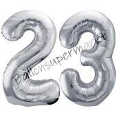 Luftballon Zahl 23, silber, 86 cm