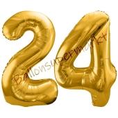 Luftballon Zahl 24, gold, 86 cm