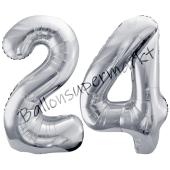Luftballon Zahl 24, silber, 86 cm