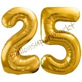 Luftballon Zahl 25, gold, 86 cm