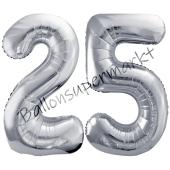 Luftballon Zahl 25, silber, 86 cm