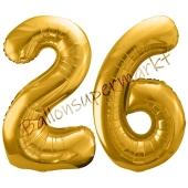 Luftballon Zahl 26, gold, 86 cm