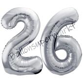 Luftballon Zahl 26, silber, 86 cm