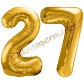 Luftballon Zahl 27, gold, 86 cm