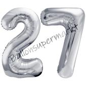 Luftballon Zahl 27, silber, 86 cm