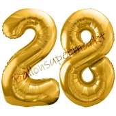 Luftballon Zahl 28, gold, 86 cm
