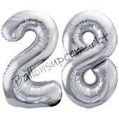 Luftballon Zahl 28, silber, 86 cm