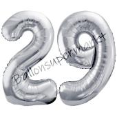 Luftballon Zahl 29, silber, 86 cm