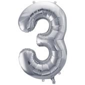 Luftballon aus Folie, Zahl 3, Silber