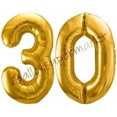 Luftballon Zahl 30, gold, 86 cm