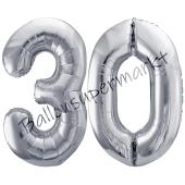 Luftballon Zahl 30, silber, 86 cm