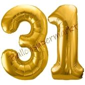 Luftballon Zahl 31, gold, 86 cm