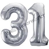 Luftballon Zahl 31, silber, 86 cm