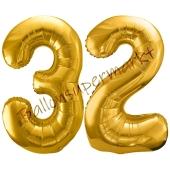 Luftballon Zahl 32, gold, 86 cm