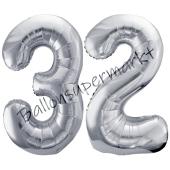 Luftballon Zahl 32, silber, 86 cm