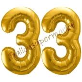 Luftballon Zahl 33, gold, 86 cm