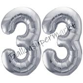 Luftballon Zahl 33, silber, 86 cm