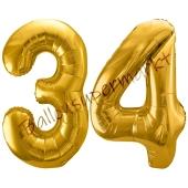 Luftballon Zahl 34, gold, 86 cm