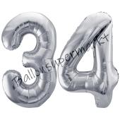Luftballon Zahl 34, silber, 86 cm