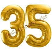 Luftballon Zahl 35, gold, 86 cm