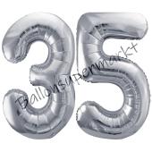 Luftballon Zahl 35, silber, 86 cm