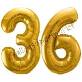 Luftballon Zahl 36, gold, 86 cm