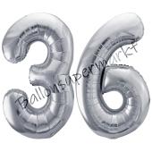 Luftballon Zahl 36, silber, 86 cm