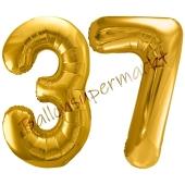 Luftballon Zahl 37, gold, 86 cm