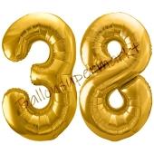 Luftballon Zahl 38, gold, 86 cm