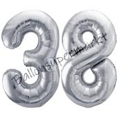 Luftballon Zahl 38, silber, 86 cm
