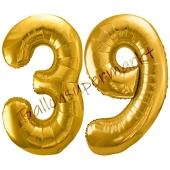 Luftballon Zahl 39, gold, 86 cm