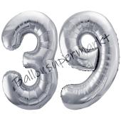 Luftballon Zahl 39, silber, 86 cm