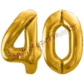Luftballon Zahl 40, gold, 86 cm