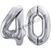 Luftballon Zahl 40, silber, 86 cm