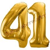 Luftballon Zahl 41, gold, 86 cm
