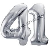 Luftballon Zahl 41, silber, 86 cm