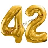 Luftballon Zahl 42, gold, 86 cm
