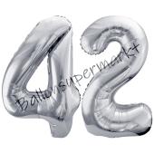 Luftballon Zahl 42, silber, 86 cm