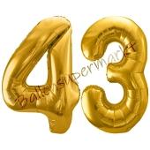 Luftballon Zahl 43, gold, 86 cm