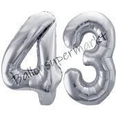 Luftballon Zahl 43, silber, 86 cm