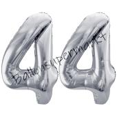 Luftballon Zahl 44, silber, 86 cm
