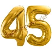 Luftballon Zahl 45, gold, 86 cm