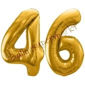 Luftballon Zahl 46, gold, 86 cm