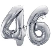 Luftballon Zahl 46, silber, 86 cm
