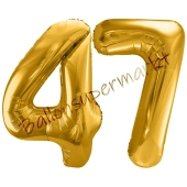 Luftballon Zahl 47, gold, 86 cm
